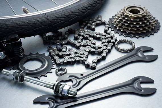 bicycle parts and tools (gray scale image)