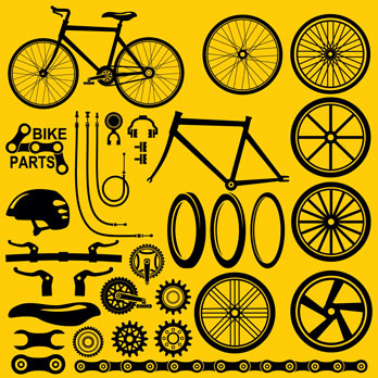 black bike parts on an orange background (illustration)