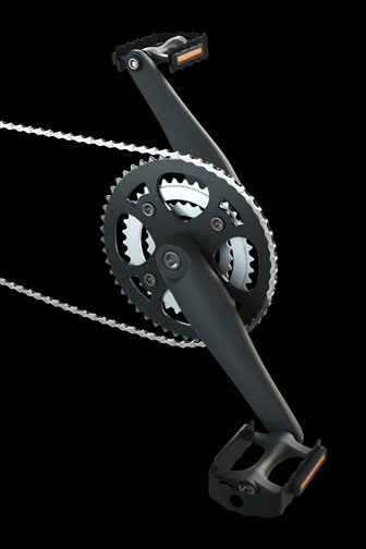 bicycle pedals, crank set, and chain