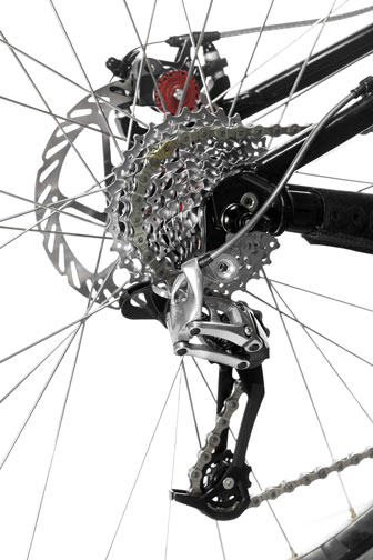 rear derailleur and gears with chain and rear brake